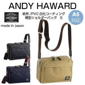 斜めがけバッグ メンズ/ANDY HAWARD 帆布/PVCコーティング ショルダーバック 2ルーム 横型/33608/おしゃれ|kabanya