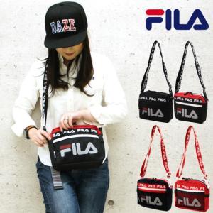 ミニショルダーバッグ FILA フィラ ヨコ型 2way ショルダー 7619 黒 赤 紺 斜めがけバッグ メンズ  レディース|kabanya