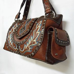 茶色のウエスタン調ハンドバッグ 刺繍&ラインストーン付 BAG320