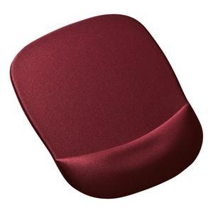 手首を優しく守る、低反発ウレタンリストレスト付きマウスパッド ■色:ワインレッド ■サイズ:W180...