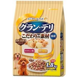 ユニ・チャームペットケア E483470H グラン・デリ カリカリ仕立て 成犬用 新食感ささみ入り 粒・角切りチーズ粒入り 1.8kg