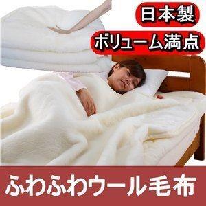 ds-508355 ボリューム抜群 ふわふわウール毛布 シングルアイボリー 日本製 (ds508355)