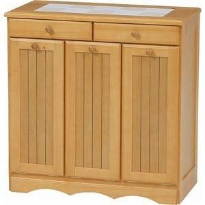 ds-1314108 ダストボックス 木製おしゃれゴミ箱 3分別 15Lペール3個/キャスター付き ナチュラル 【完成品】 (ds1314108)