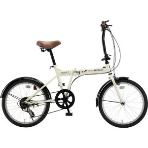 マイパラス M-208-IV 折畳自転車20インチ・6段ギア 折畳20・6SP (アイボリー) (M208IV)|kadenya