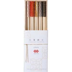 【納期目安:2週間】フジイ 4562230459240 コハナ HD-924-IM5 イセミタテお箸飾り 祝い箸 木箱 5コセット|kadenya