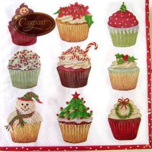ペーパーナプキン[メール便OK] ●カクテルサイズ●クリスマスカップケーキCaspariby Carolyn Bucha|kaderia