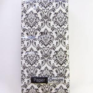 ペーパーナプキン[メール便OK][ポケットサイズ]単品 ハンキーダマスクブラック 総柄[Paper+Design]ドイツ製デコパージュ・ペーパーナフキン・紙ナプキン kaderia