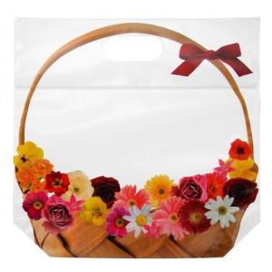 10枚 日本製 ジップ付きビニールバッグ おすそわけ袋 フォトフラワー 花かご赤コジット ジップバッ...
