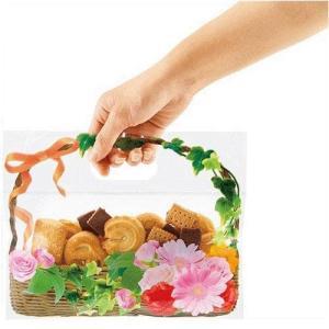 日本製 ジップ付きビニールバッグ おすそわけ袋 フォトフラワー 花かご赤コジット ジップバッグ ジップロックお菓子保存 小分け 収納 おすそ分け ラッピ kaderia 02