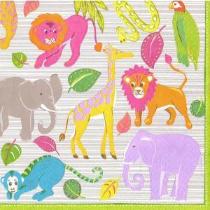 10枚ペーパーナプキン カラフル動物園 MadagascarCaspari カスパリ キッズ向け|kaderia