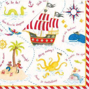10枚ペーパーナプキン 海賊 Yo Ho Ho!夏 海 冒険 地図 パイレーツCaspari カスパリ キッズ 男の子向け|kaderia