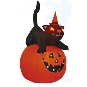 エアーパンプキン猫 巨大かぼちゃネコライト・バルーンハロウィン飾り・店舗ディスプレー|kaderia