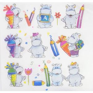 C-409 ペーパーナプキン school hippos かば 3枚入り [Paper+Design]ペーパーデザイン紙ナプキン・デコパージュ|kaderia