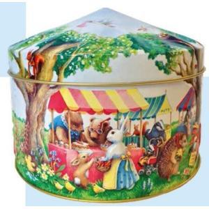 「輸入お菓子」缶入り ウッドランドフェア缶(ショートブレッド)チャーチル動物のマーケット柄|kaderia