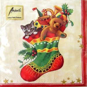 ペーパーナプキン[メール便OK] クリスマスストッキング 猫...