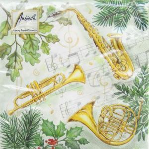 ペーパーナプキン[メール便OK] クリスマス ミュージック[Ambiente]クリスマス楽器・ミュージック