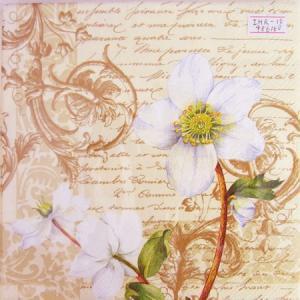 ペーパーナプキン[メール便OK]ランチサイズ 白い花 クリスマス 10枚入り[IHR]ドイツ 紙ナプキン・ペーパーナプキン