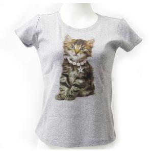 ネコTシャツ  キャット グレーLサイズ[トゥーシェ]猫・ねこ・ネコ・CAT kaderia