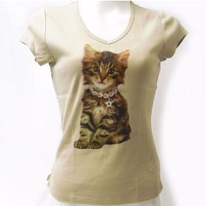ストーン付きTシャツ  キャット ベージュMサイズ[トゥーシェ]猫・ねこ・ネコ・CAT kaderia