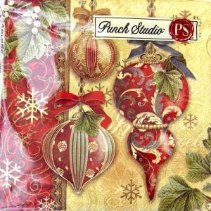 [Punch Studio]ペーパーナプキン[メール便OK]●カクテルサイズ●ゴールデンオーナメント 2枚入りパンチスタジオ・2010クリスマス|kaderia