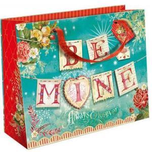 Punch Studio 3DペーパーバッグM BE MINE 気球と花 紙袋・ラッピング・ギフト・バレンタインの画像
