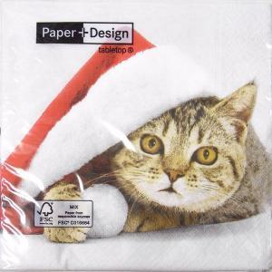 ペーパーナプキン[メール便OK]ランチサイズ サンタ キャット10枚入り733-575[Paper+Design]ペーパーデザインクリスマス・・猫・ねこ・キャット・CATネコ|kaderia