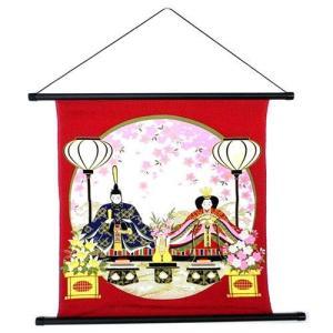 45cm縮緬タペストリー 夢宵 濃赤雛祭り壁飾りひなまつり・お雛様ウォールアート|kaderia