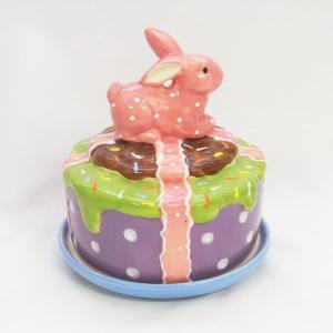 限定品 陶器オブジェ うさぎケーキ フードカバー[HOFF interieur]置物・インテリア・ギフトテーブルオーナメント・イースター飾り|kaderia