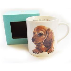 犬食器シリーズ DOGマグカップ ダックス チョコ[KYOSHINKAKOU]犬雑貨・いぬ・イヌ・キッチン・食器・ギフト kaderia