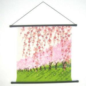 縮緬タペストリー  しだれ桜ひなまつり・お雛様ウォールアート・桜タペストリー・さくら・サクラ飾り|kaderia