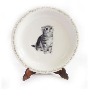 猫食器シリーズ CAT 平皿 スコティッシュ[KYOSHINKAKOU]猫・ネコ・ねこ・CAT・キッチン・カトラリー・ギフト kaderia
