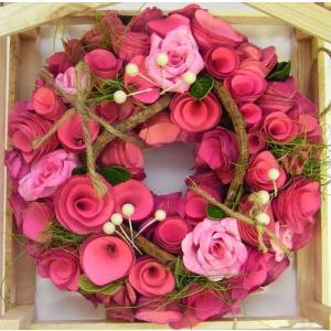 ナチュラルリース S ピンク眠りローズバインホワイトベリー[その他]インテリア・壁掛け・母の日・プレゼント