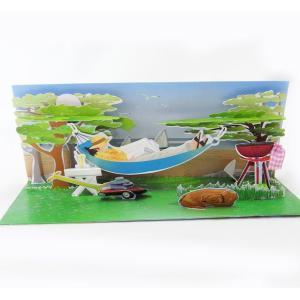 ロングポップアップグリーティングカードハンモック  キャンプ[Up With Paper][Treasures]バースデー魚・フィッシュ|kaderia