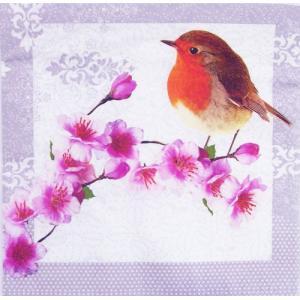 C-323 ペーパーナプキン[メール便OK]ランチサイズ 桜と鳥 3枚入り [Paper+Design]ペーパーデザイン紙ナプキン・デコパージュ・和風・和柄|kaderia