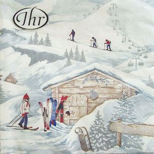 ペーパーナプキン[メール便OK]ランチサイズ スキーロッジ クリスマス[IHR]ドイツ 紙ナプキン・ペーパーナプキン