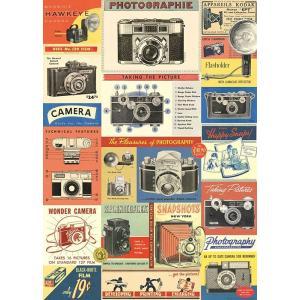 Cavallini&Co 包装紙 1703 ラッピングペーパー ヴィンテージカメラ ポスター輸入包装...
