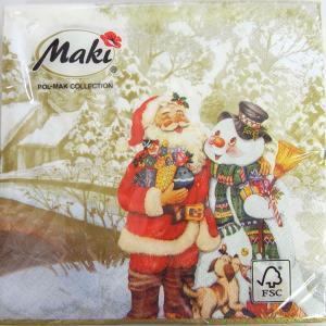 ペーパーナプキン[メール便OK] ランチサイズ 仲良しサンタと雪だるま ゴールド[Maki]2枚入りペーパーナフキン・紙ナプキン・デコパージュ・クリスマス・サン
