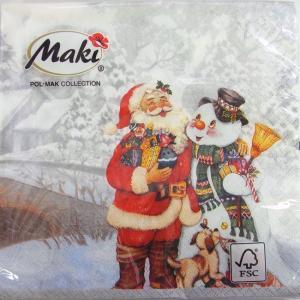 ペーパーナプキン[メール便OK] ランチサイズ 仲良しサンタと雪だるま シルバー [Maki]2枚入りペーパーナフキン・紙ナプキン・デコパージュ・クリスマス・サ