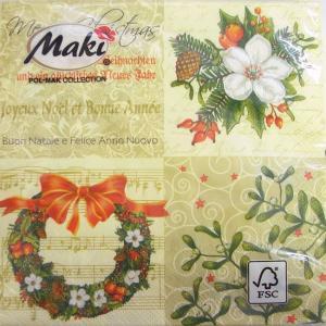 ペーパーナプキン[メール便OK] ランチサイズ クリスマスリース [Maki]2枚入りペーパーナフキン・紙ナプキン・デコパージュ・クリスマス・サンタ