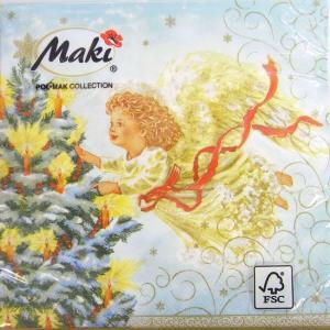 ペーパーナプキン[メール便OK] ランチサイズ ツリーに明かりを灯す天使 [Maki]2枚入りペーパーナフキン・紙ナプキン・デコパージュ・クリスマス・天使