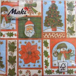 ペーパーナプキン[メール便OK] ランチサイズ ポインセチアとクリスマス[Maki]2枚入りペーパーナフキン・紙ナプキン・デコパージュ・クリスマス・サンタ