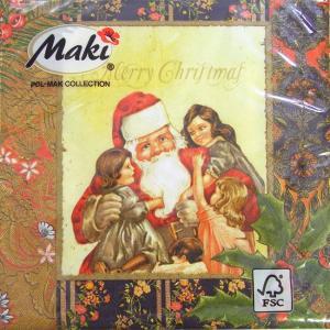 ペーパーナプキン[メール便OK] ランチサイズ 子供たちはサンタさんが大好き [Maki]2枚入りペーパーナフキン・紙ナプキン・デコパージュ・クリスマス・サンタ