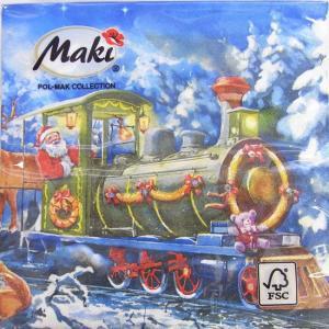 ペーパーナプキン[メール便OK] ランチサイズ 機関車でプレゼントを運ぶサンタ [Maki]2枚入りペーパーナフキン・紙ナプキン・デコパージュ・クリスマス・サン