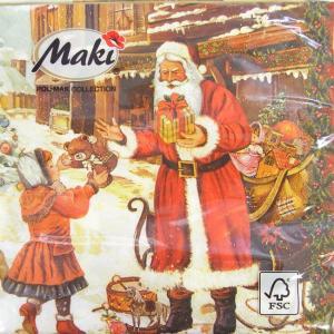 ペーパーナプキン[メール便OK]ランチサイズ2枚 子供たちへプレゼント[Maki]ペーパーナフキン・紙ナプキン・デコパージュ・クリスマス・サンタ