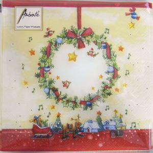 ペーパーナプキン[メール便OK] クリスマスリース サンタ帽の鳥 10枚入り[Ambiente]クリスマス紙ナプキン