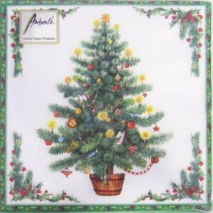 ペーパーナプキン[メール便OK] クリスマスツリー グリーン枠 10枚入り[Ambiente]クリスマス紙ナプキン
