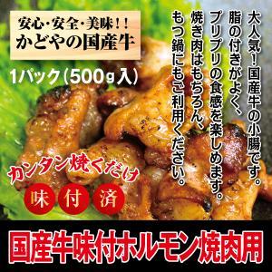 国産牛ホルモン味付け焼肉用500g|kadoyabokujou