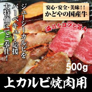 国産牛上カルビ焼肉用500g|kadoyabokujou