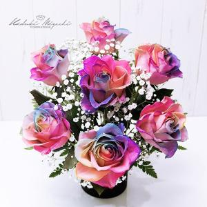 プレミアム レインボーローズ Passion パシオン クラシック デザイン 生花 アレンジメント