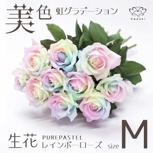 レインボーローズ ピュアパステル 花束 7本 生花 バラ